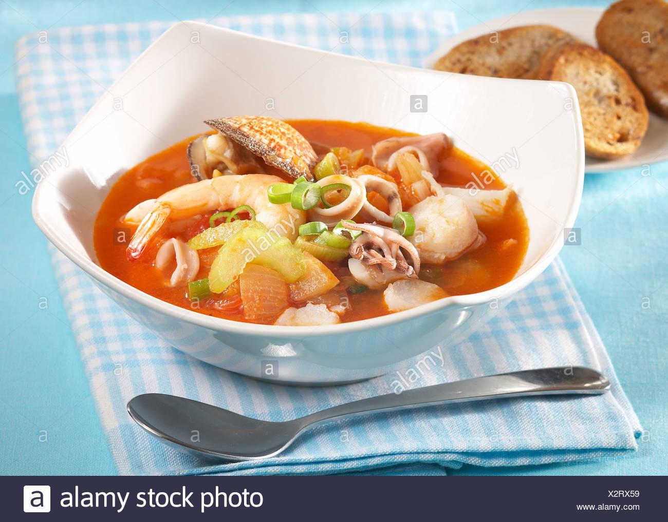 Soupe de poisson de mer Banque D'Images