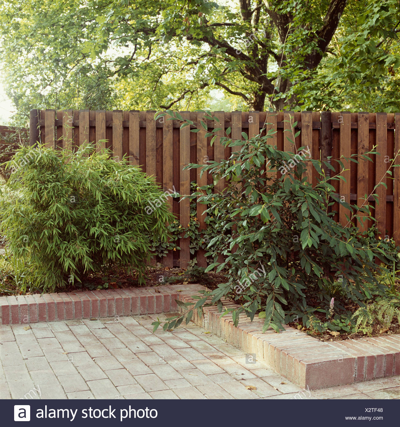 Bordure De Jardin En Brique Posee Sur La Frontiere Avec L