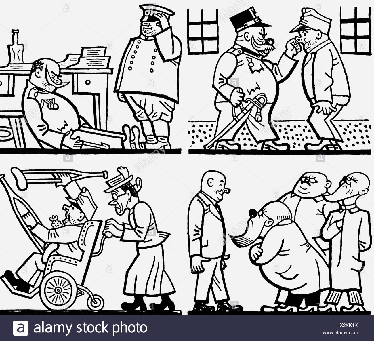Jaroslav Hasek,, 24.4.1883 - 3.1.1923, République tchèque auteur / scénariste, illustration from 'Aventures du bon soldat Svejk', 1921, Additional-Rights-Jeux-NA Photo Stock