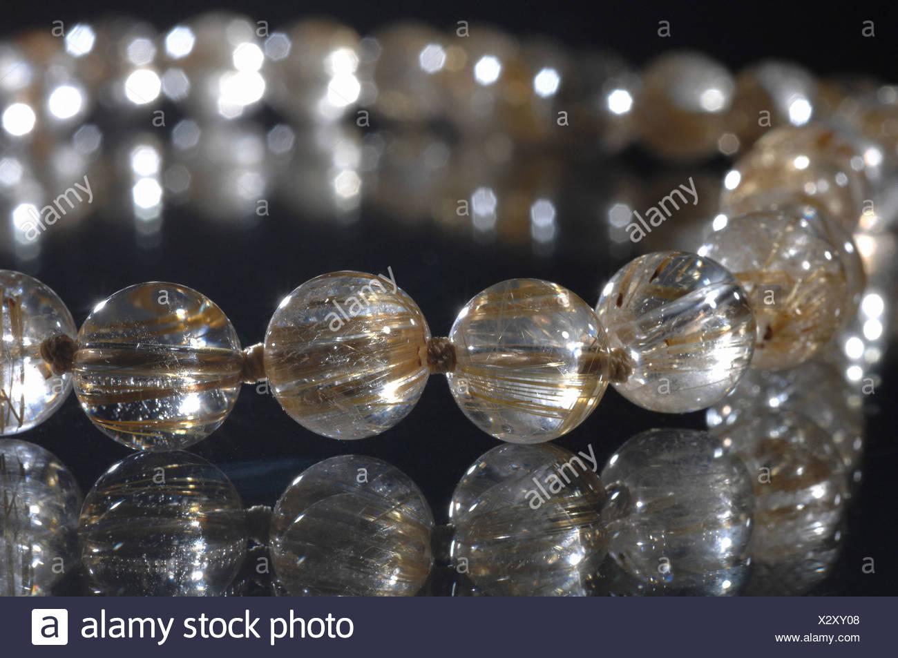pierre précieuse, bijoux, rutil, quartz, chaîne, matières, brun doré