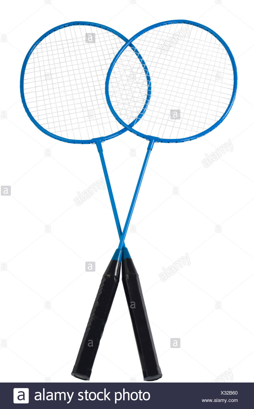 Close-up de deux raquettes de badminton Photo Stock