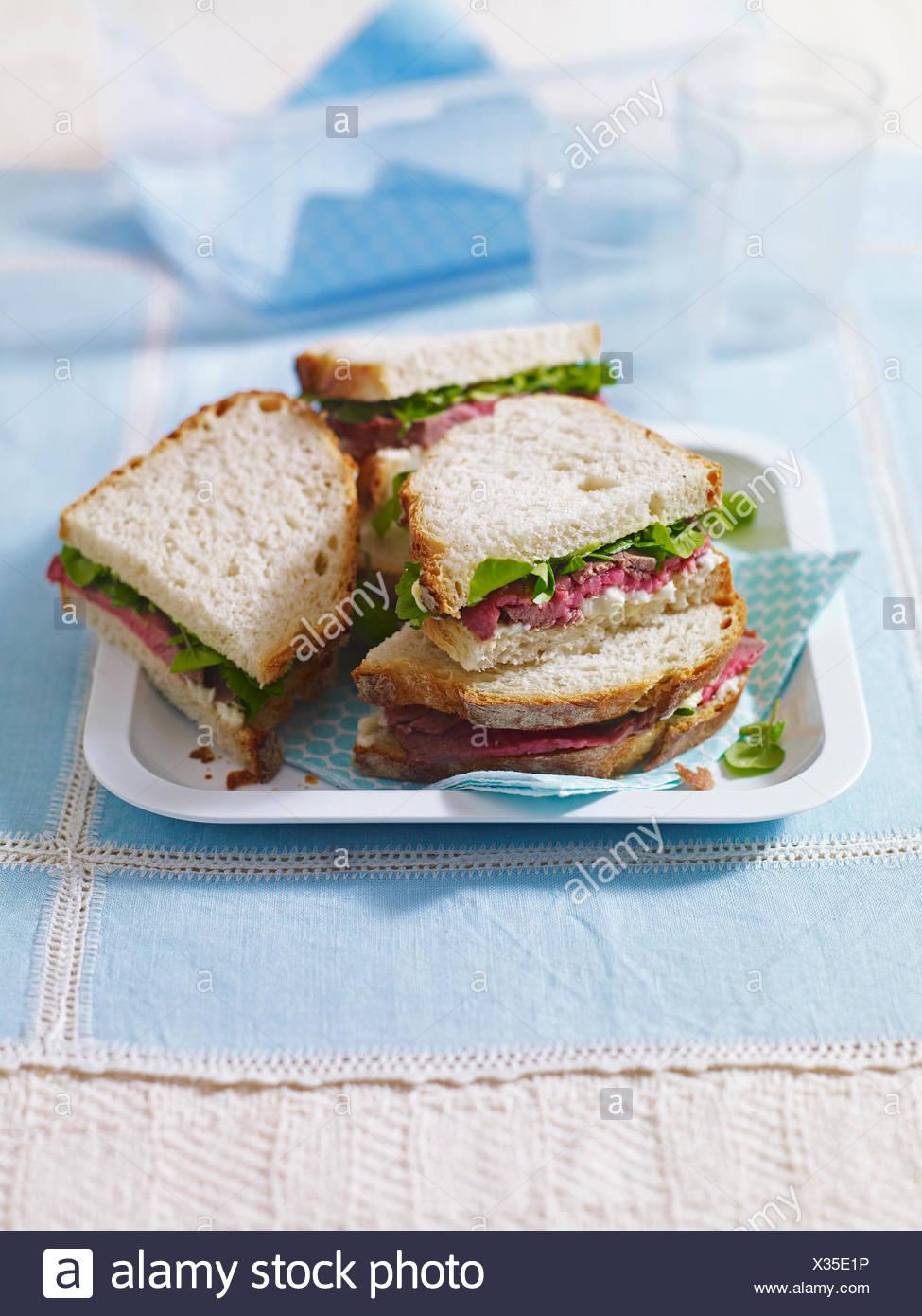 Sandwich au rôti de bœuf Banque D'Images