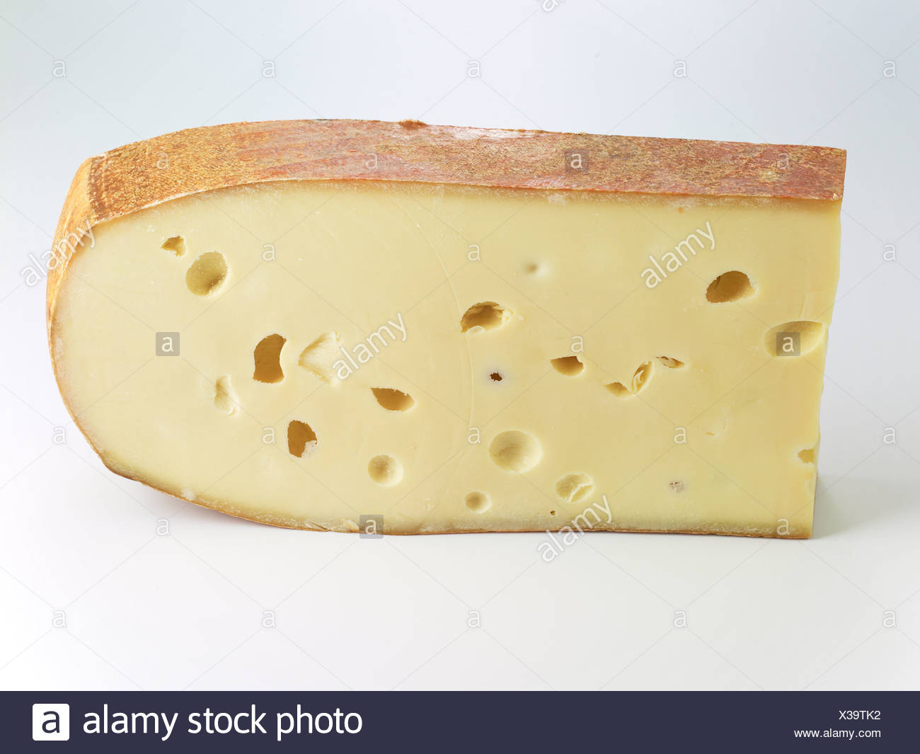 L'emmental against white background, close-up Photo Stock