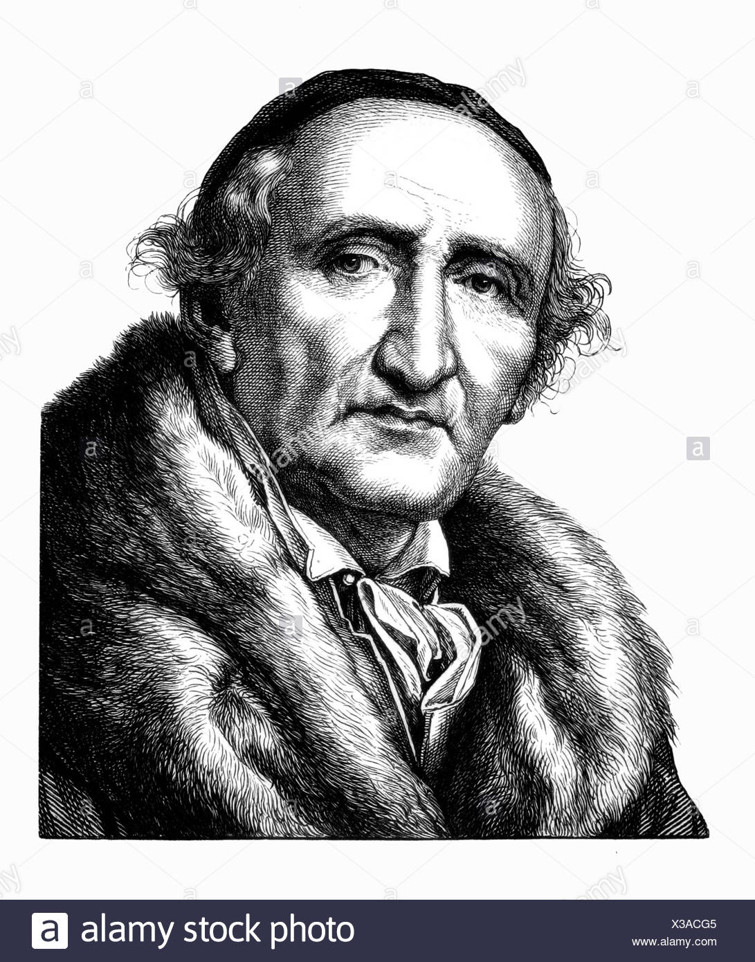 Johann Gottfried Schadow,, 20.5.1764 - 27.1.1850, sculpteur allemand, portrait, gravure sur acier, 19e siècle, l'artiste a le droit d'auteur , de ne pas être effacé Banque D'Images