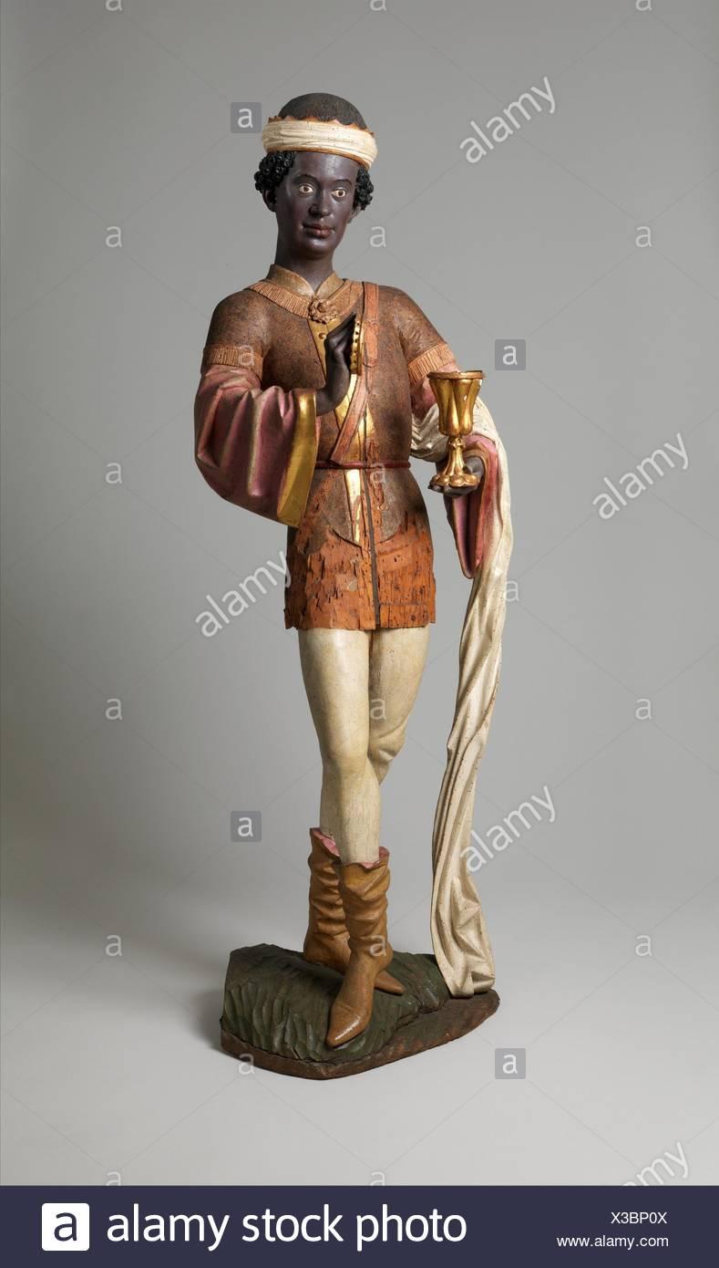 Caspar des Trois Rois à partir d'un groupe d'adoration. Date: avant 1489; Géographie: Faites en Souabe, Allemagne; Culture; Allemand: Médium: peinture, d'érable et Photo Stock