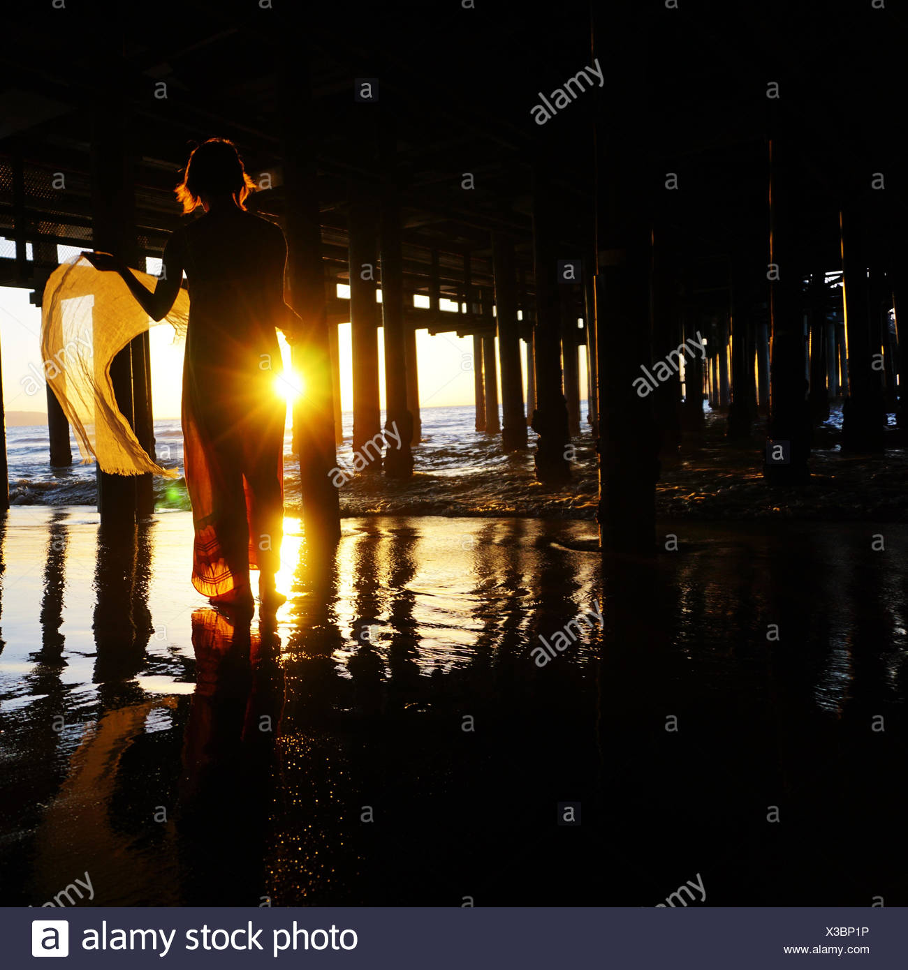 Silhouette d'une femme debout sous une jetée Photo Stock