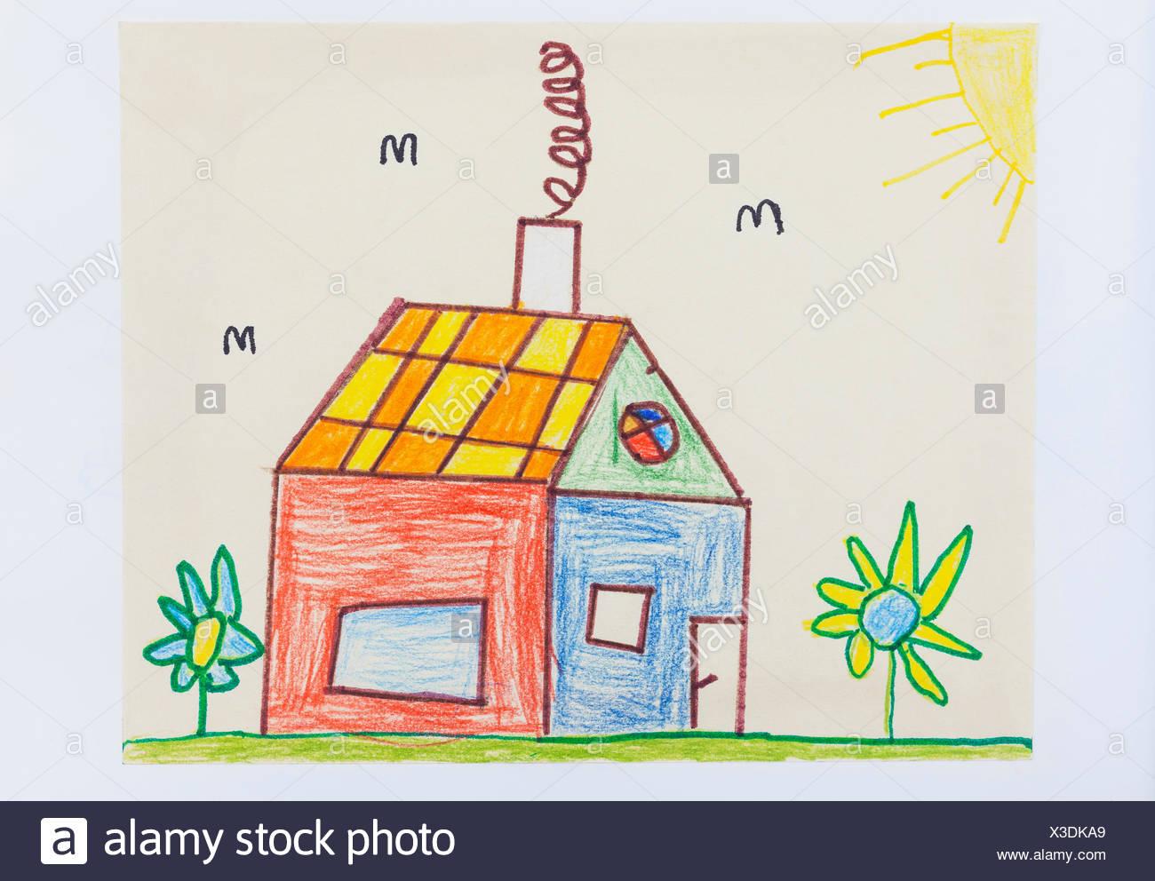 Dessin D Enfant Maison Et Jardin Colore Banque D Images Photo