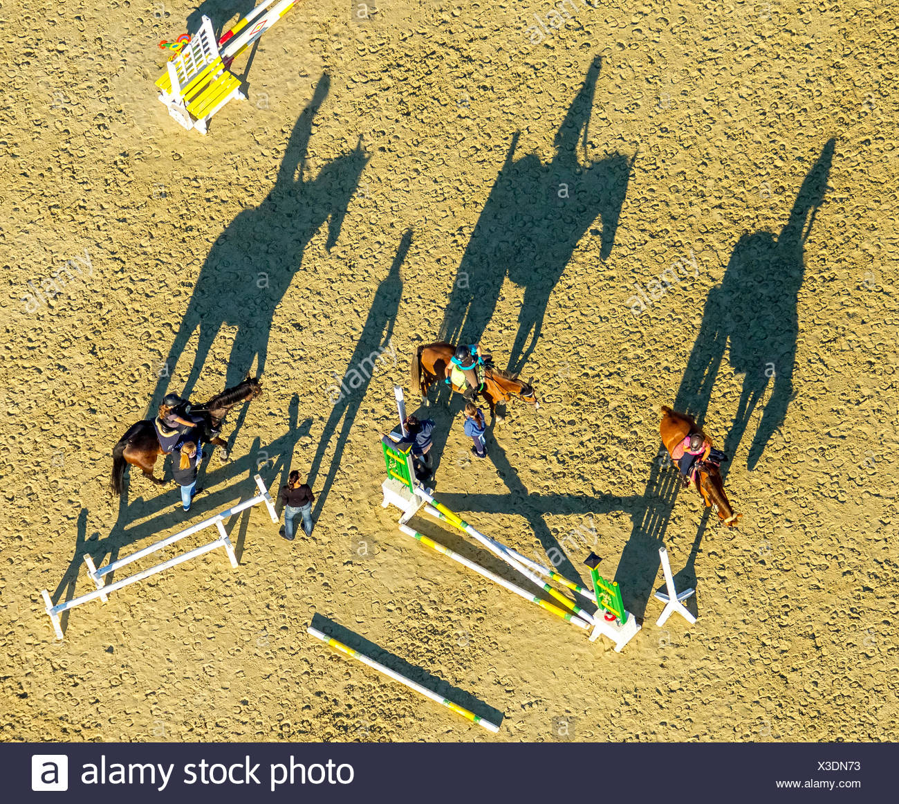 La formation d'obstacles, les cavaliers casting de longues ombres, Reiterhof, Hamm Rhynern, Ruhr, Rhénanie du Nord-Westphalie, Allemagne Photo Stock
