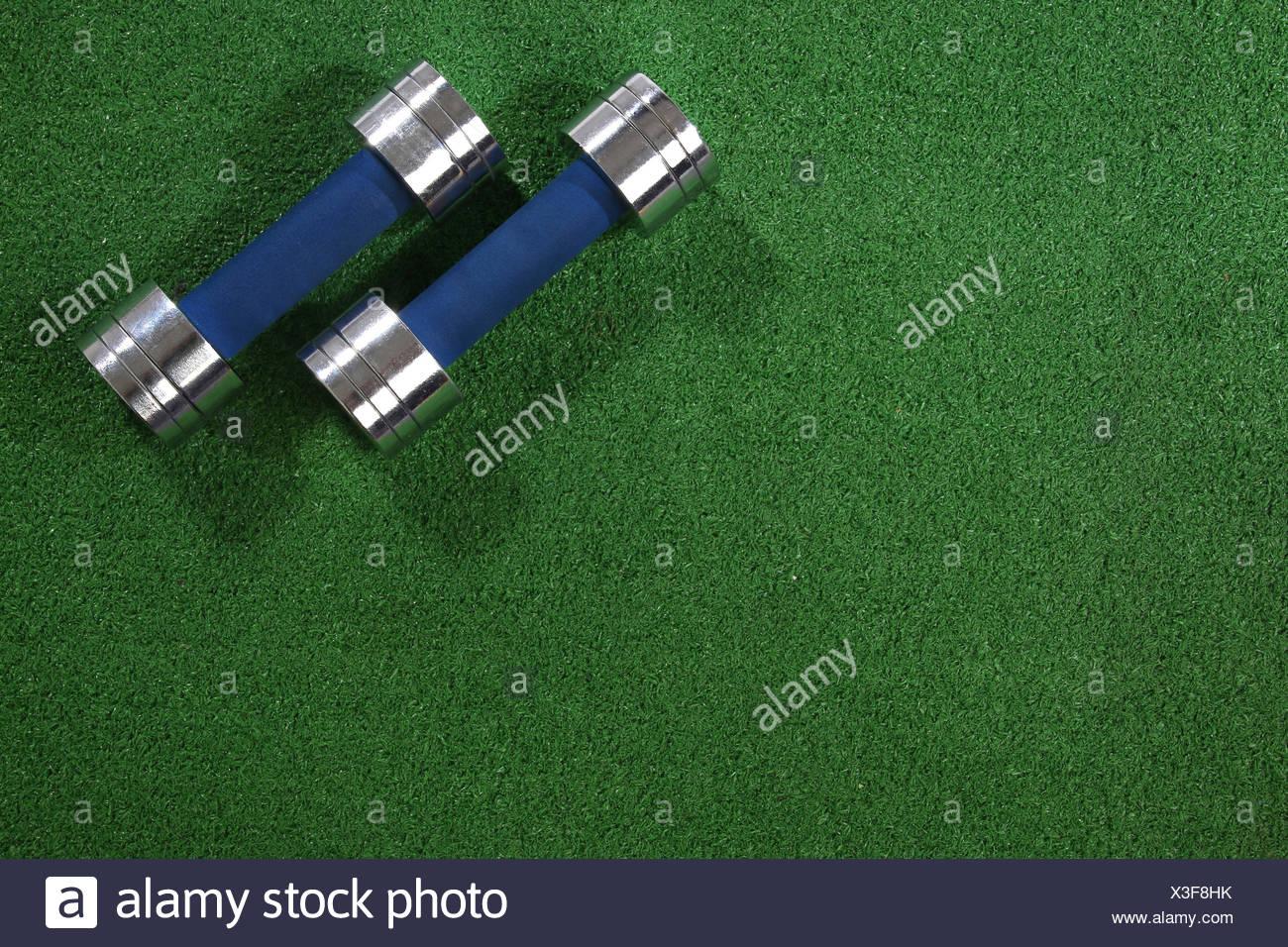 Une paire d'haltères sur un fond d'herbe Photo Stock