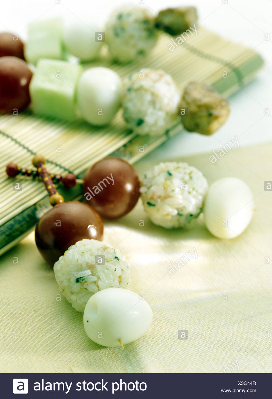 Mini brochette de balle de riz Photo Stock