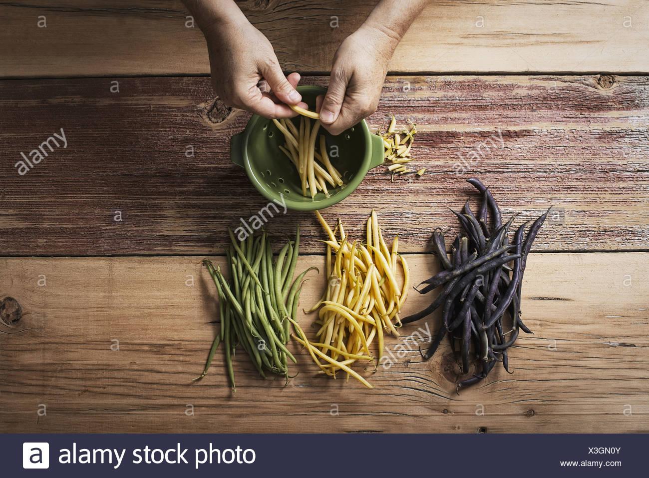 Jaune et Noir vert bio haricots Légumes frais étant en tête et queue par une personne avant de cuisiner et manger Photo Stock