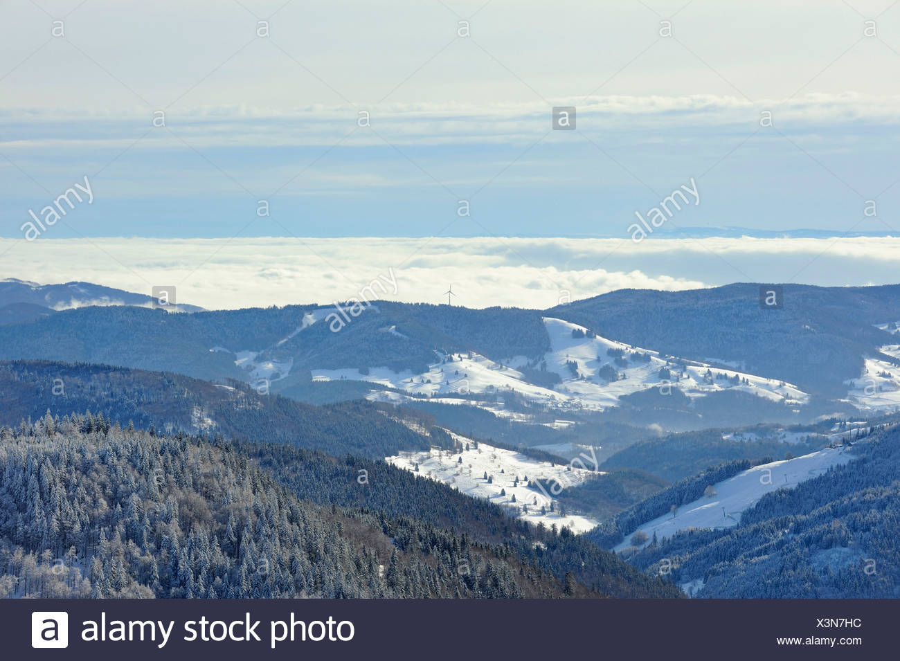 Vue du Mt. Sur le Feldberg wintry meadow valley et les collines de la haute Forêt Noire, Landkreis Breisgau-Hochschwarzwald Photo Stock