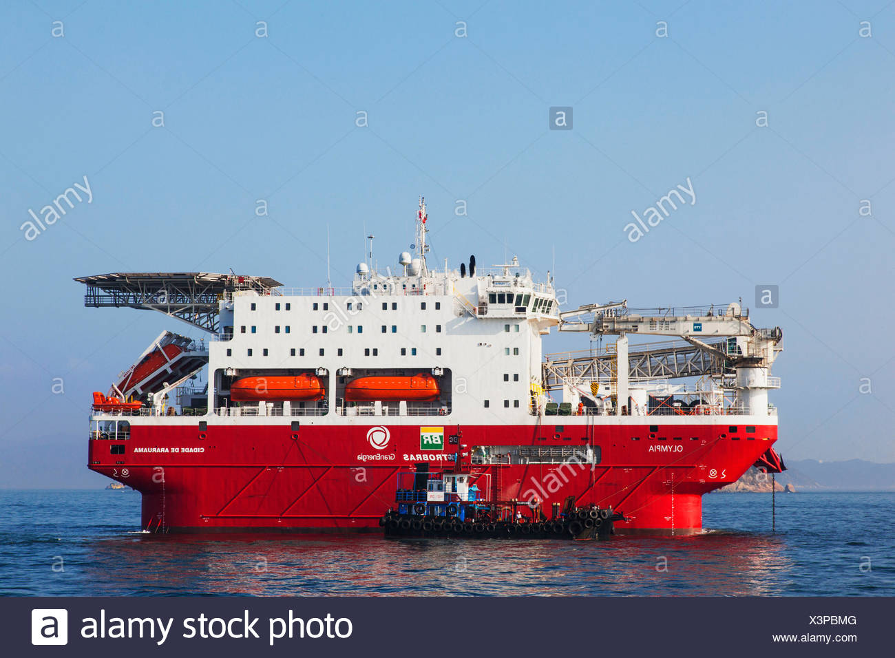 La Chine, Hong Kong, l'Olympia, semi-submersible Compact Unité de soutien Ocean Rig Photo Stock