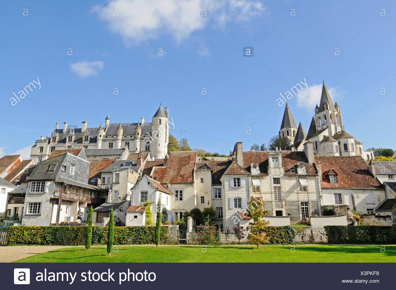 Église de Saint-Ours, Logis Royal, la résidence du château, Castle Hill, Loches, Tours, Indre-et-Loire, région Centre, France, Europe Photo Stock
