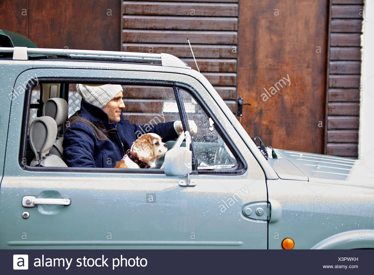 Mid adult man with dog driving van Photo Stock
