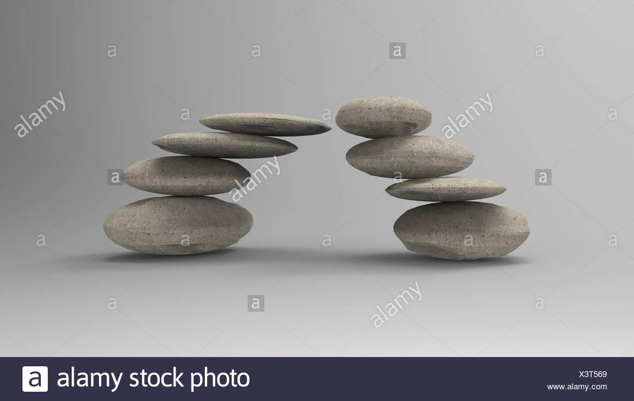 Le rendu 3D traitement des pierres spa zen, scène concepts lien Photo Stock
