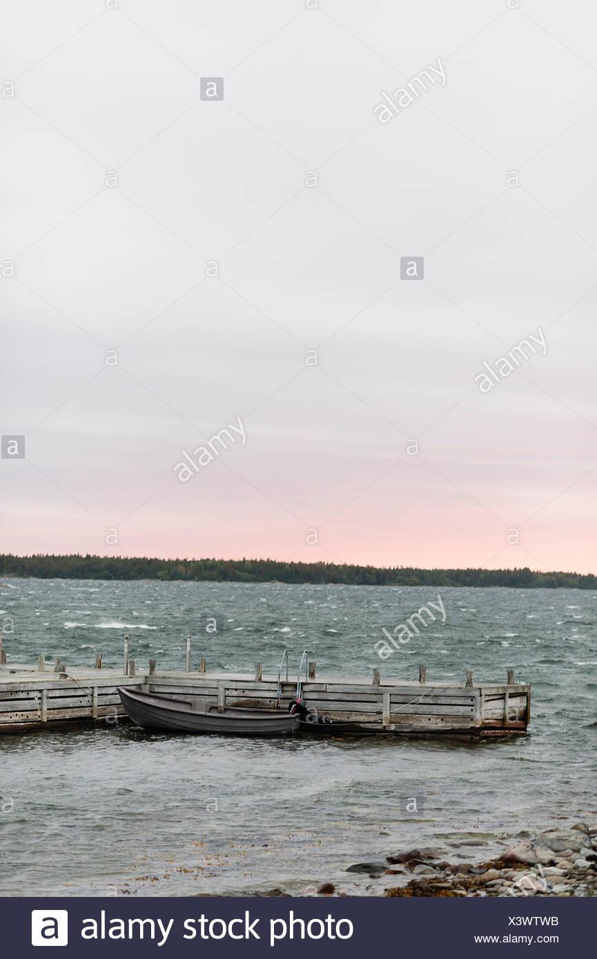 La Suède, l'archipel de Stockholm, Uppland, Fejan, vue sur le lac à l'aube Banque D'Images