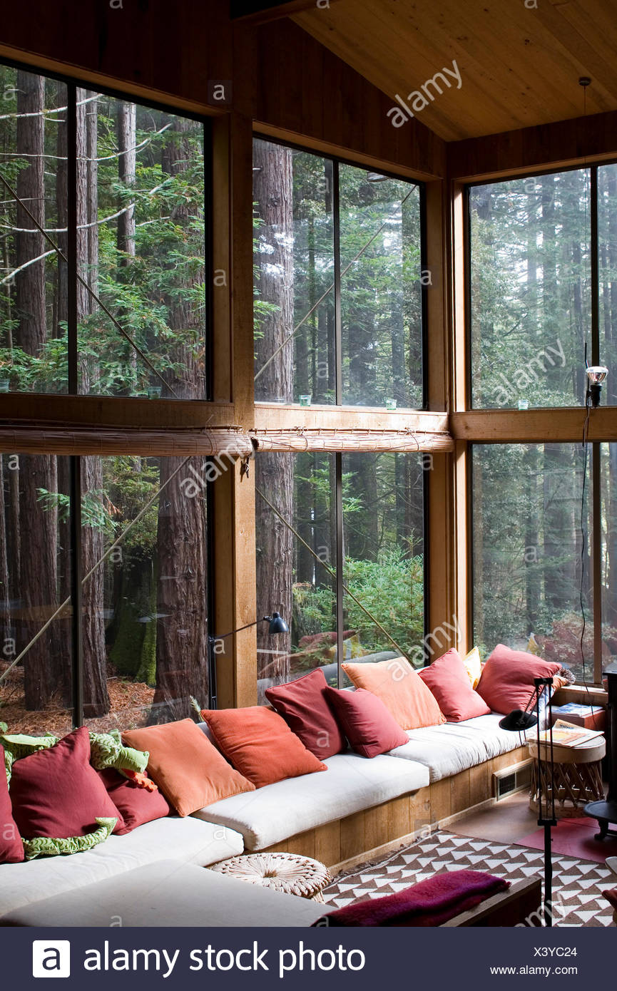 Maison moderne avec vue sur l\'intérieur de forêt derrière ...