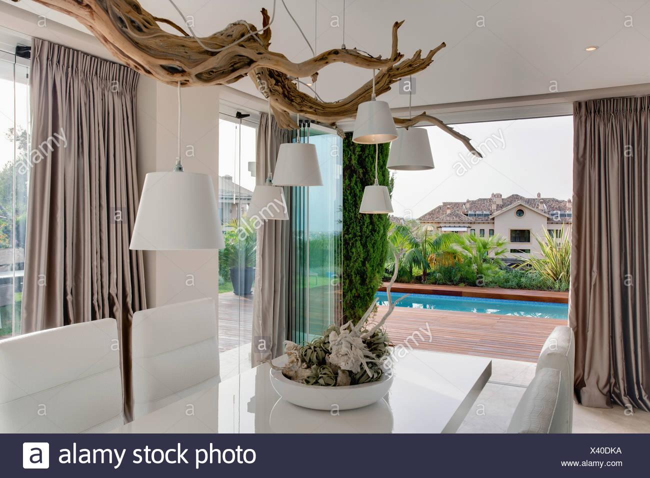 Rideau Pour Salle A Manger Moderne abat-jour blanc rustique de branche d'arbre au-dessus de