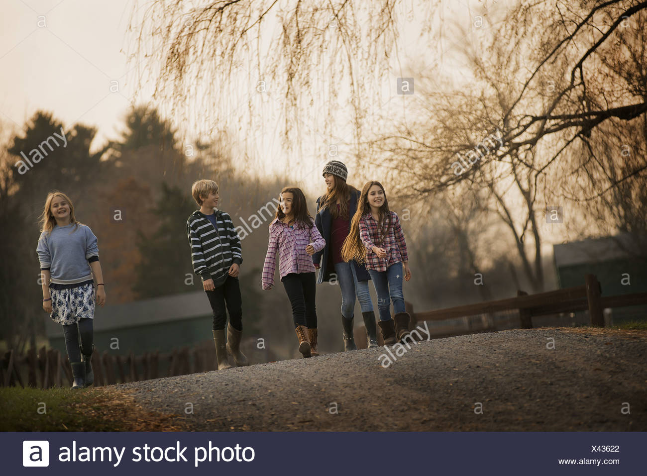 Un groupe d'enfants un garçon et quatre filles marcher le long d'un chemin, un jour d'hiver une ferme biologique Photo Stock