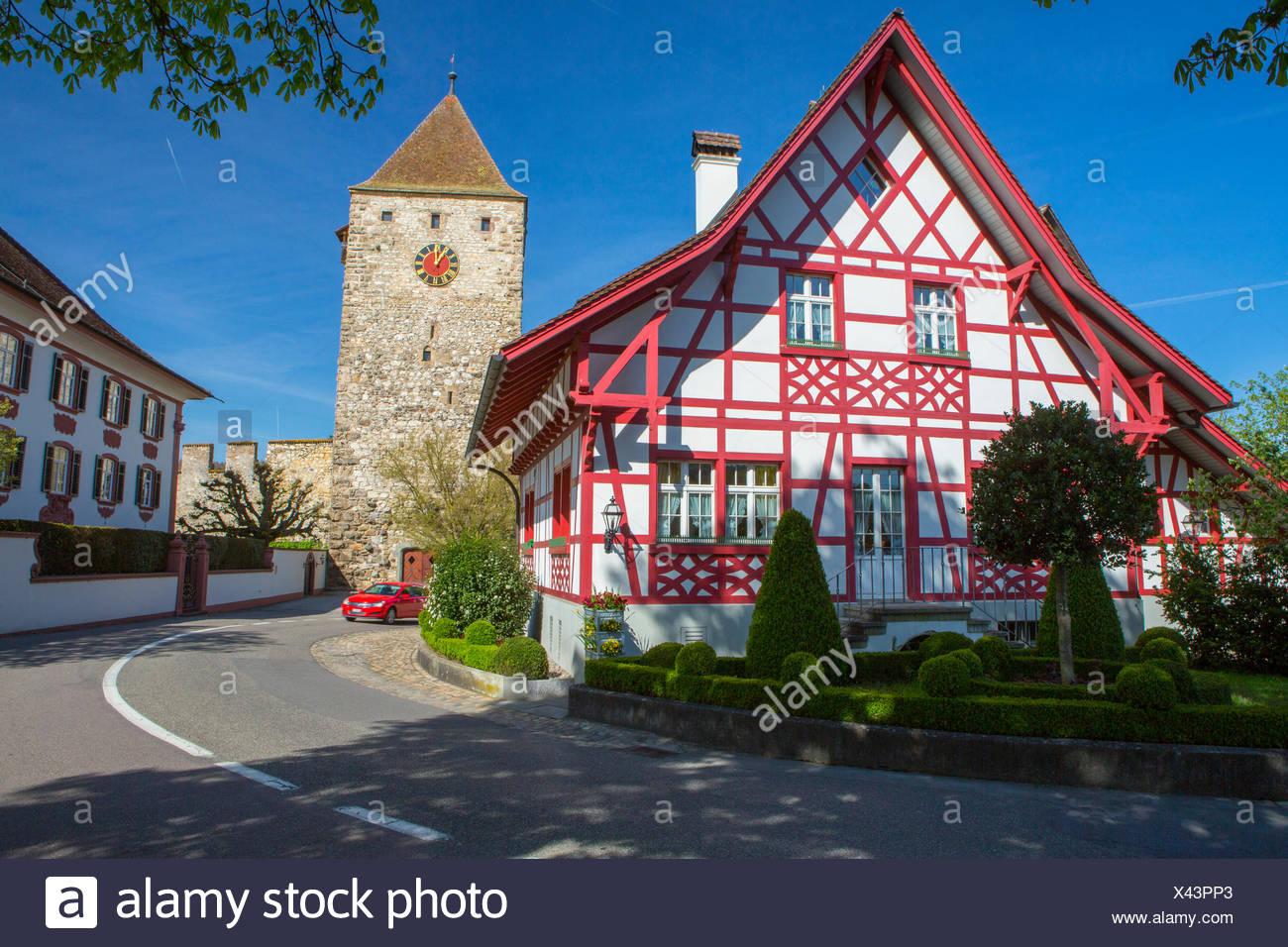 Kaiserstuhl, printemps, canton, AG, Zurich, Suisse, Europe, maison, tour, vis Photo Stock