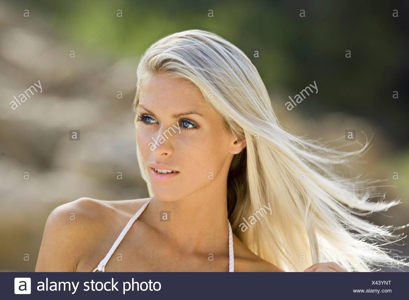 Head shot of beach girl blonde Photo Stock