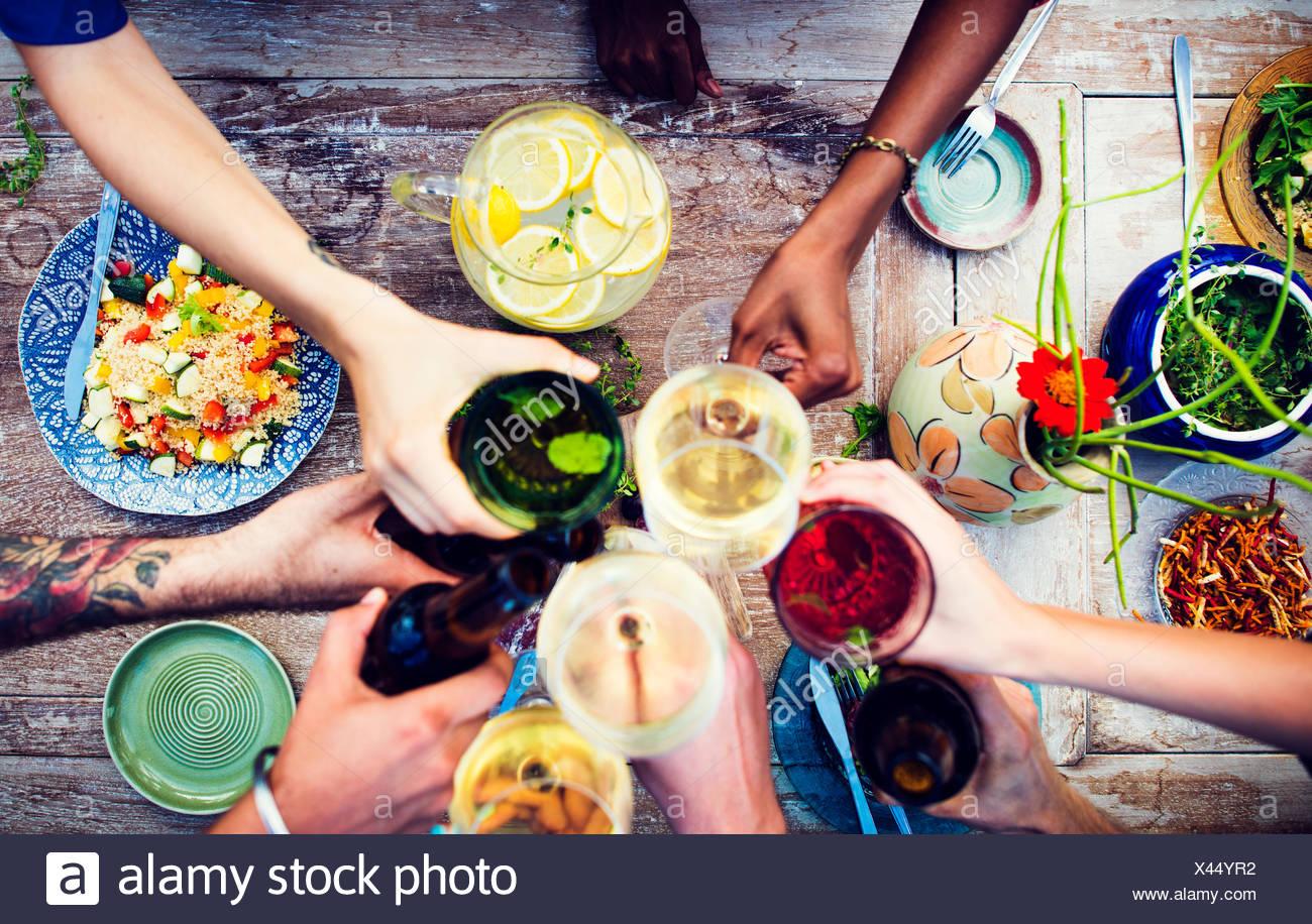 Tableau des aliments délicieux repas bio sain Photo Stock