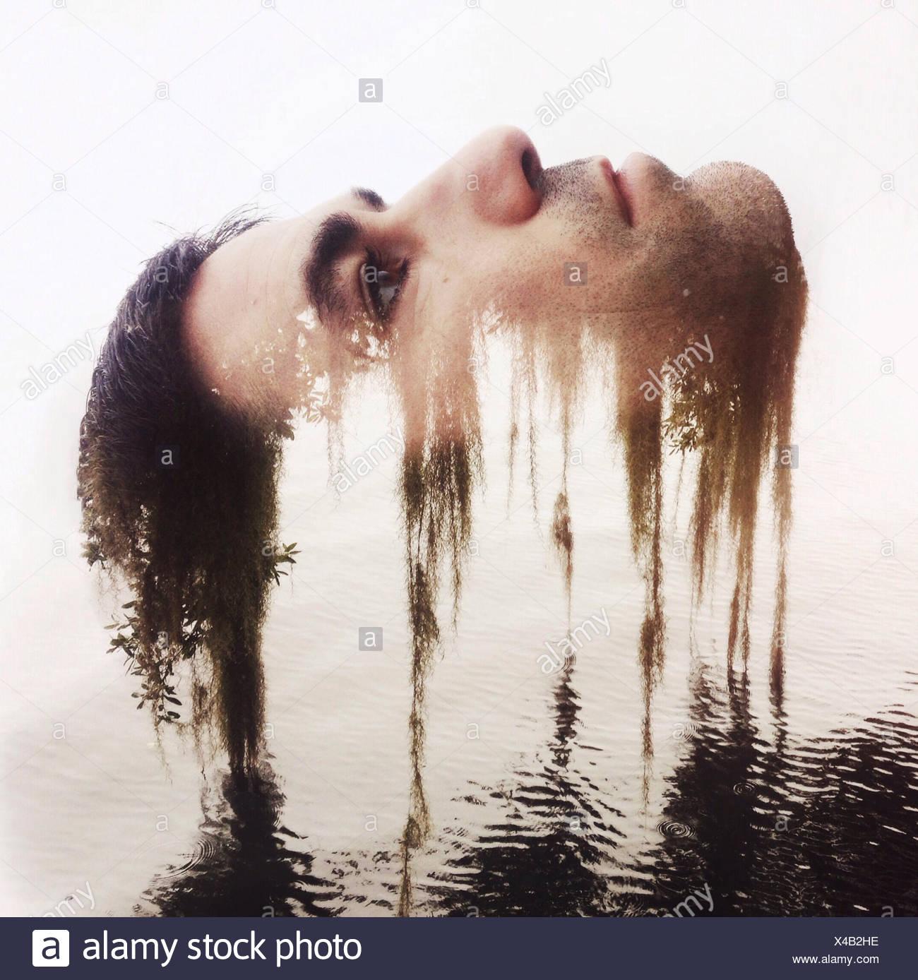 Composite numérique de la tête de l'homme se dissolvant dans la nature Banque D'Images