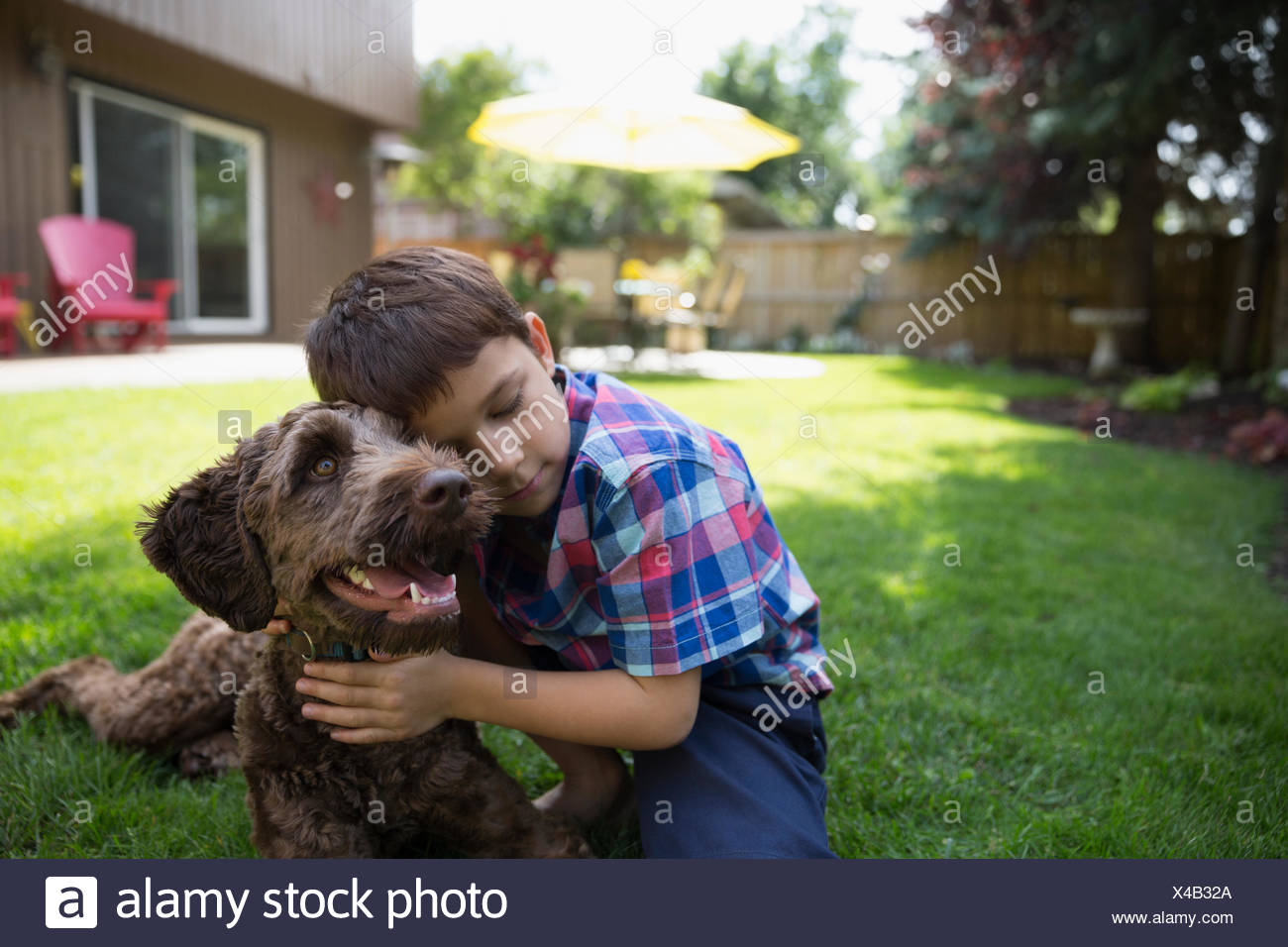 Affectueux boy hugging dog on lawn Photo Stock