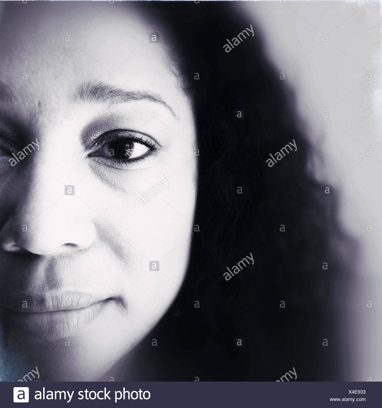 Extreme Close Up Portrait of Woman Photo Stock