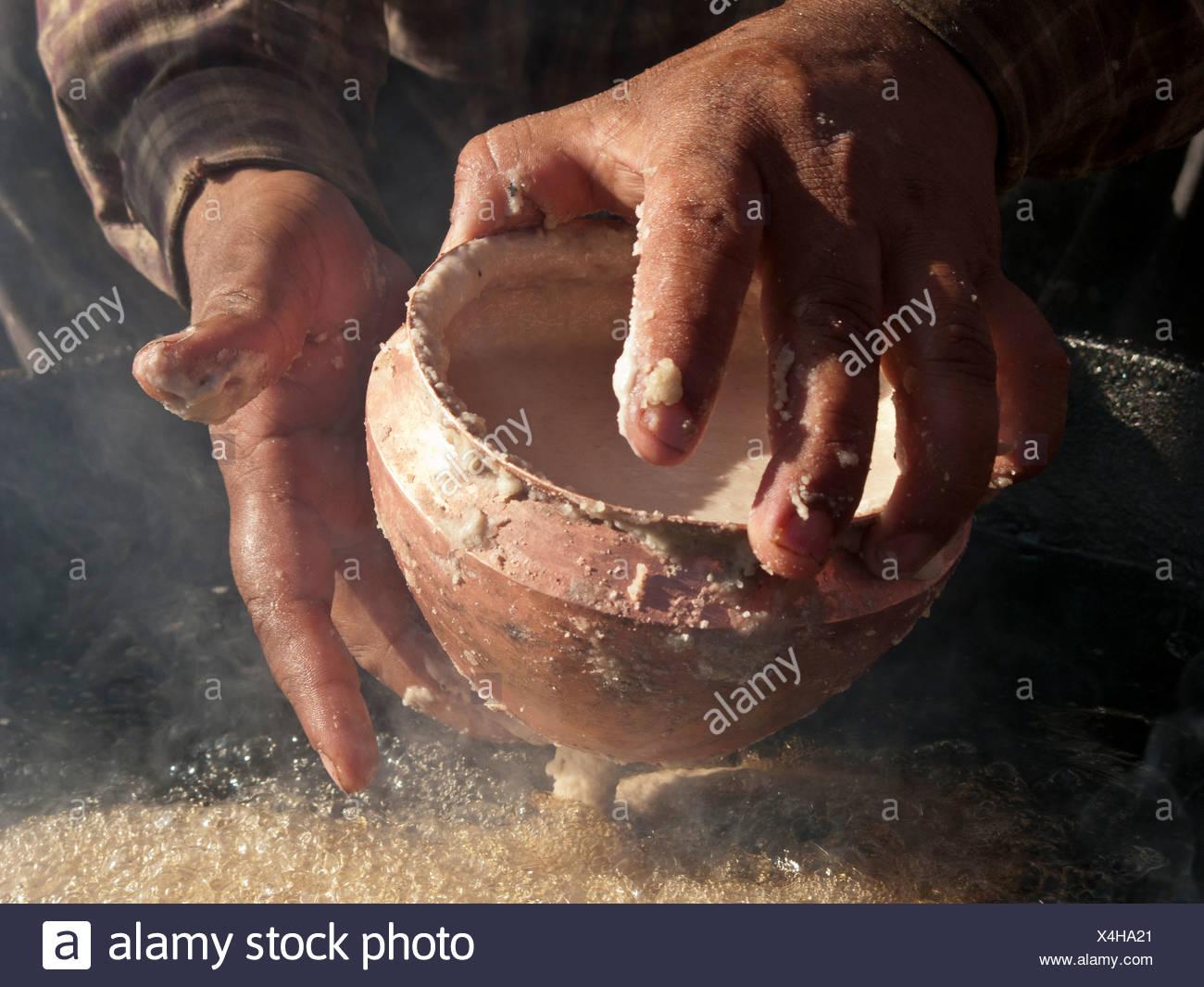 Sel Roti, petit-déjeuner traditionnel de deepfried népalais, Katmandou, Népal, Asie du Sud Photo Stock