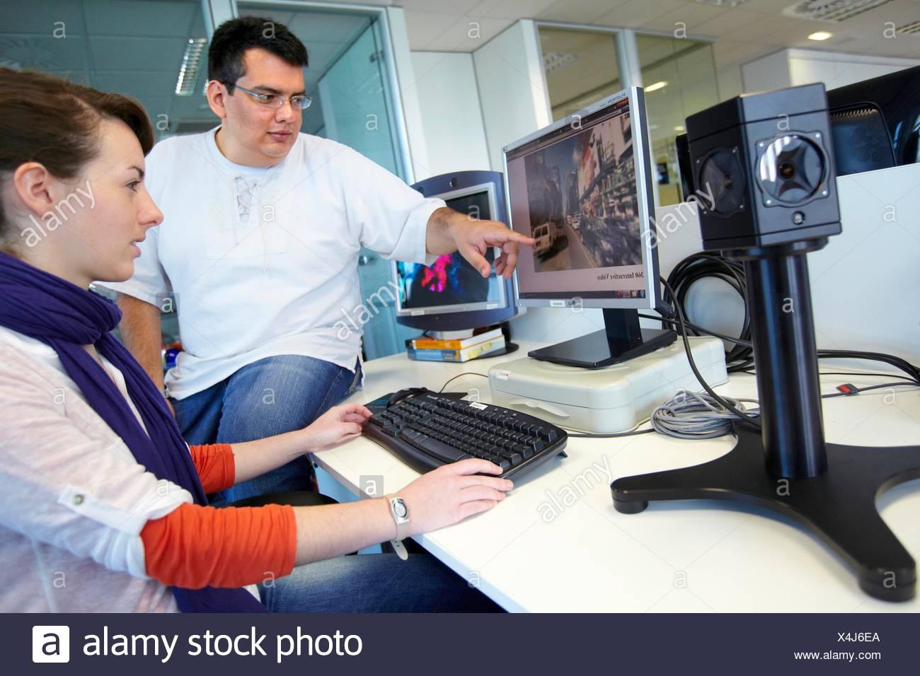 Démo vidéo omnidirectionnels, systèmes intelligents pour les transports et l'ingénierie, Vicomtech-IK4 l'interaction visuelle et Photo Stock