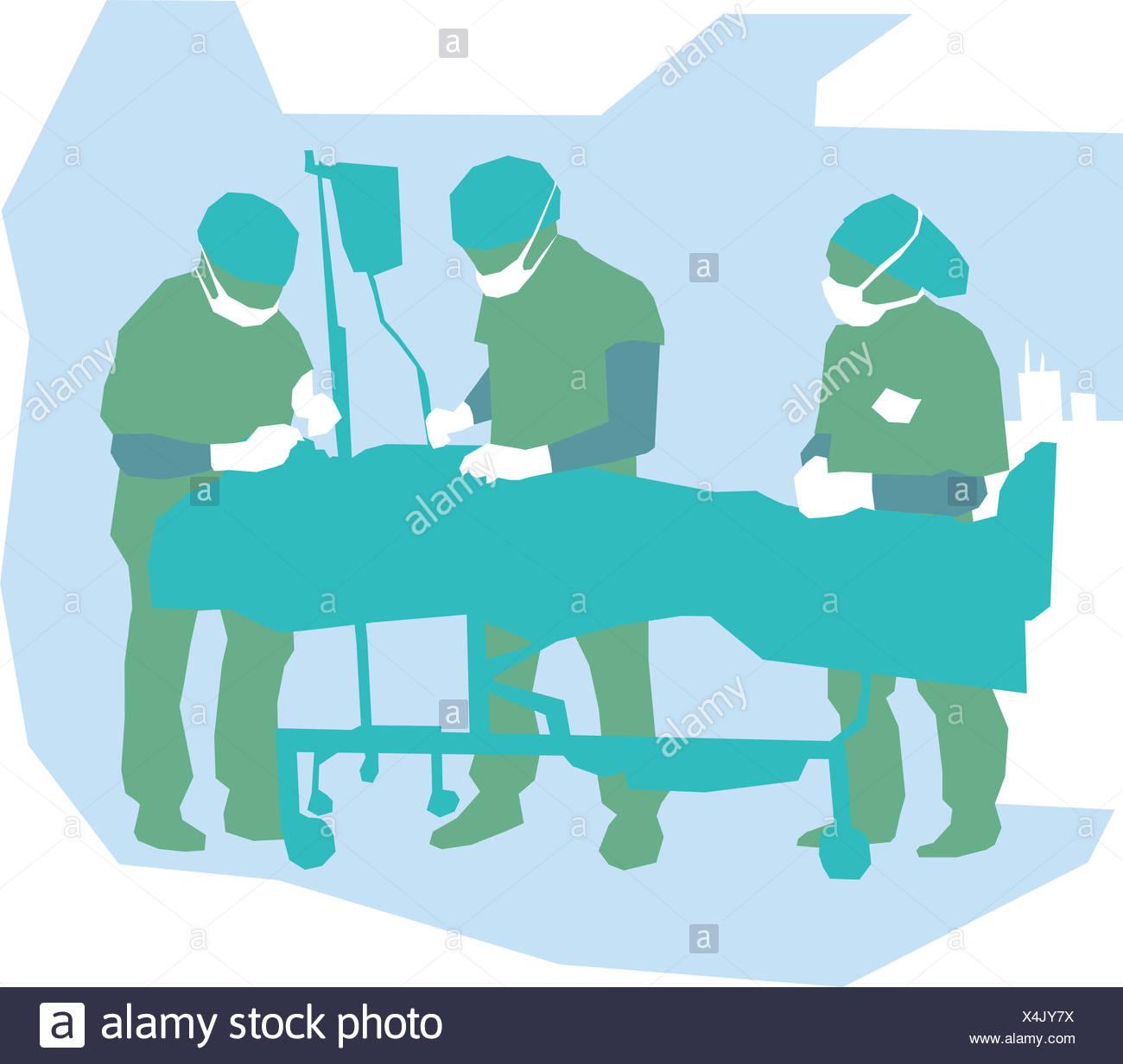 Les médecins en chirurgie d'un Photo Stock