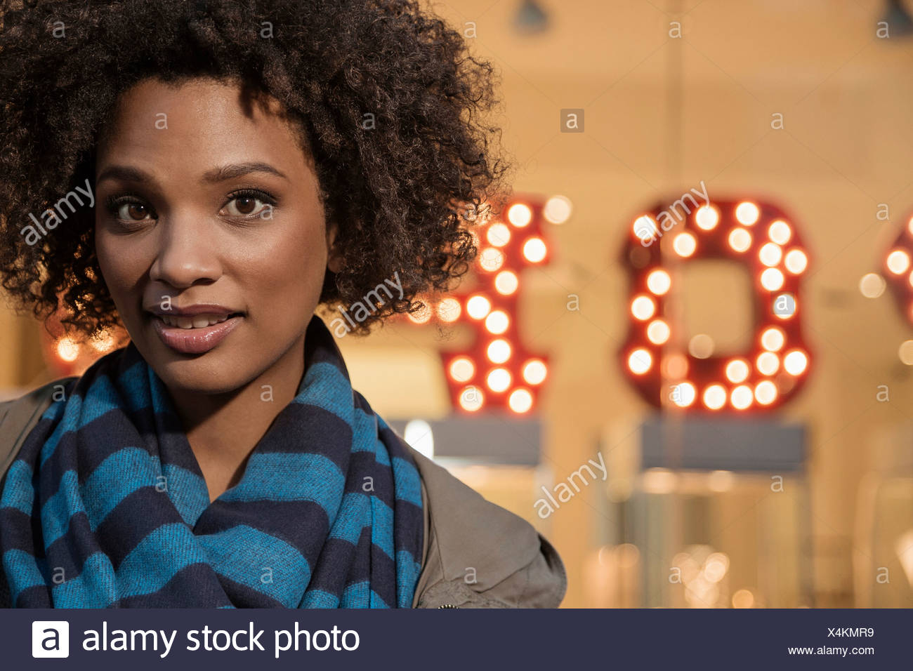 Close up of woman's face curieux Photo Stock