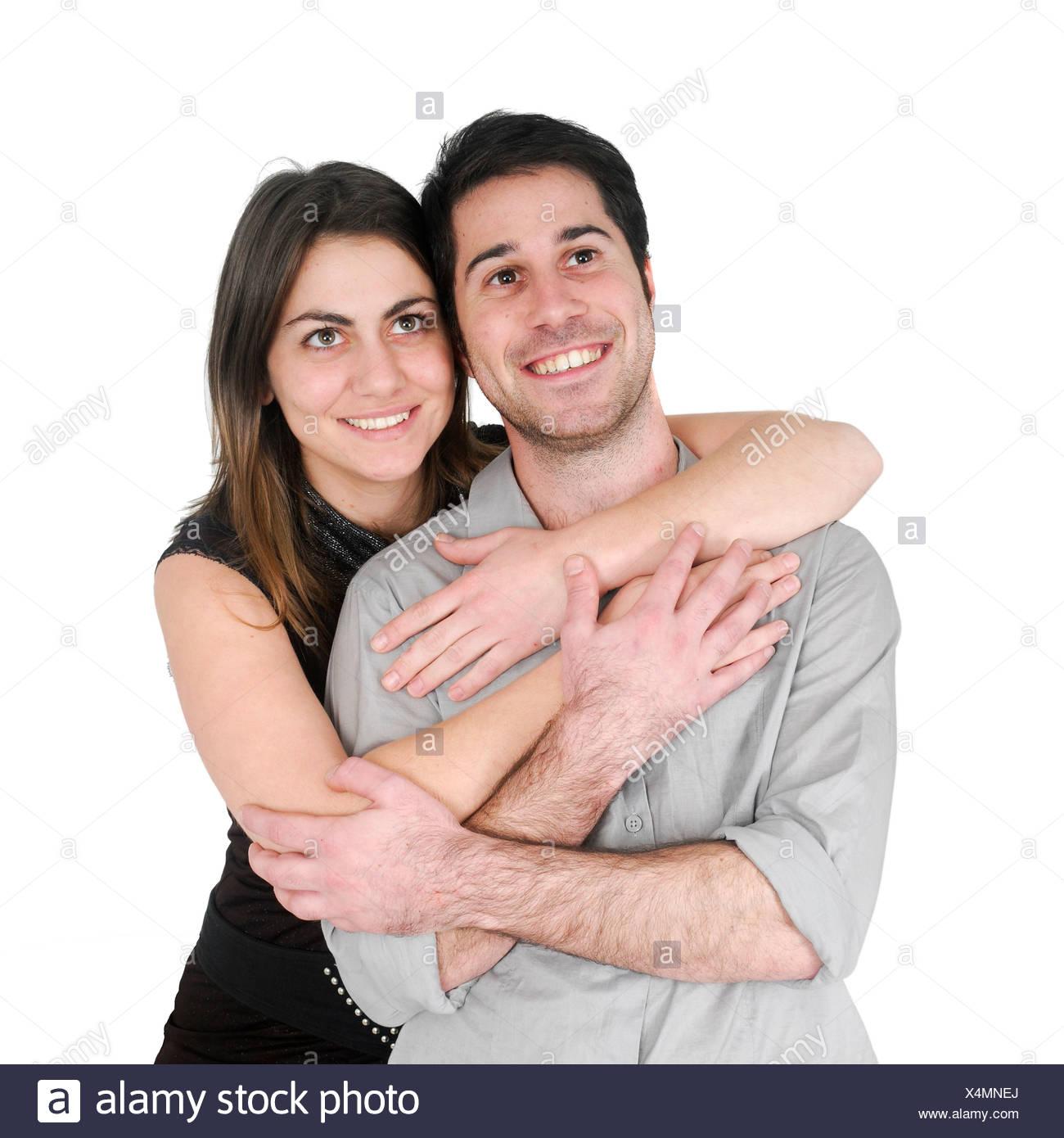 Couple optimiste sur fond blanc Photo Stock