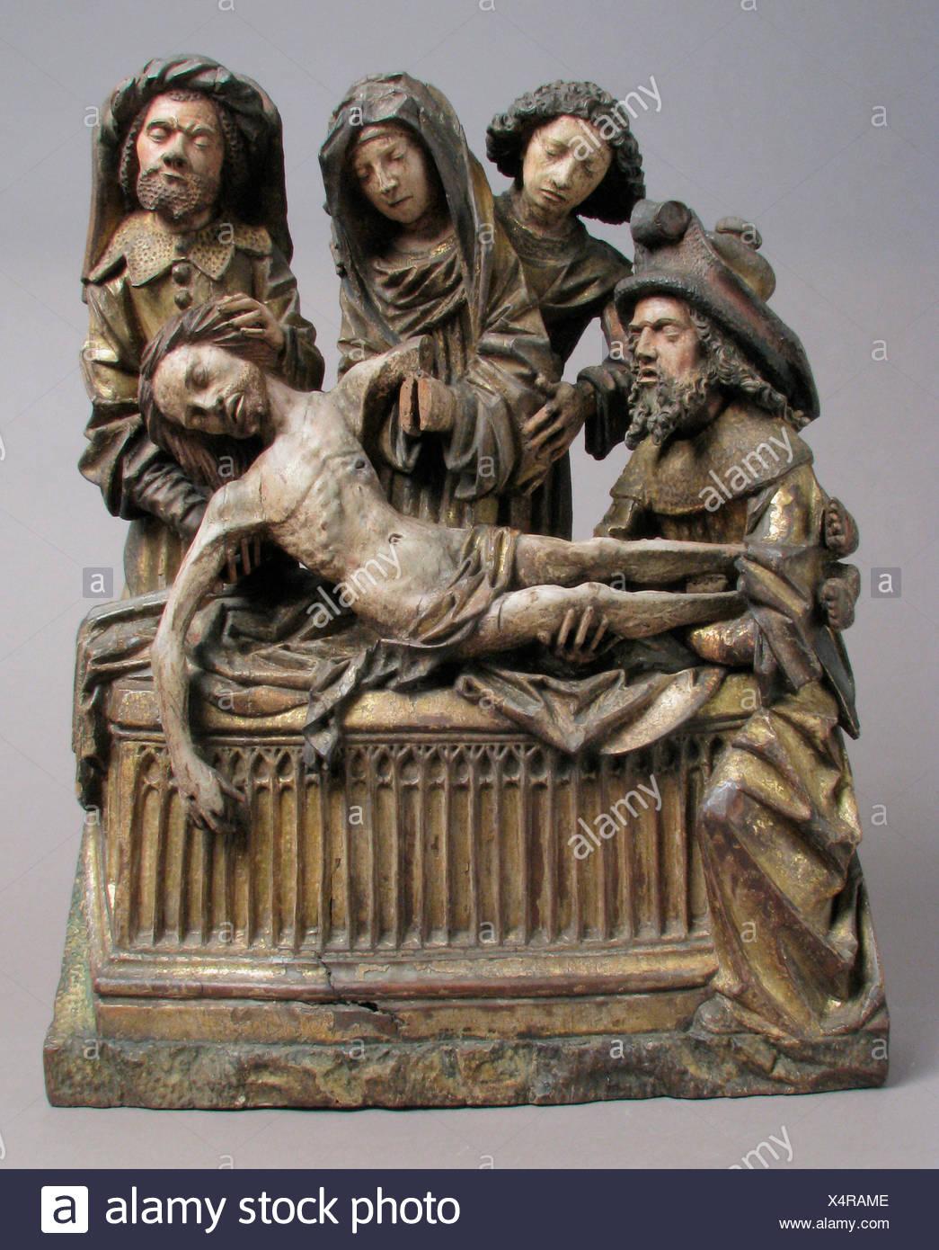 La mise au tombeau du Christ avec la Vierge Marie, Saint John, Nicodème et Joseph d'Arimathie. Date: 1500-1510; Culture: l'allemand ou du Sud Photo Stock
