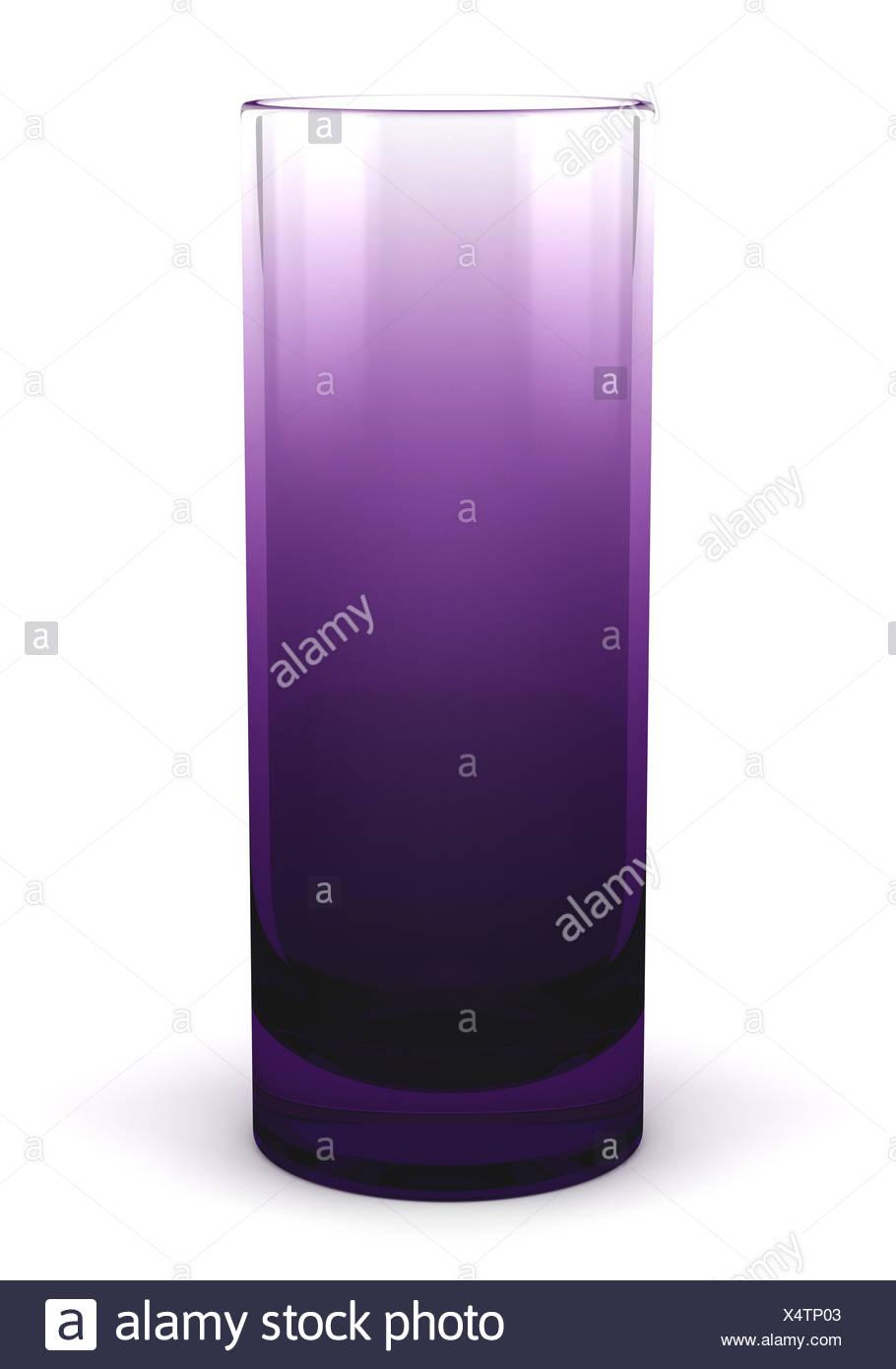Vase en verre violet unique isolated on white Banque D'Images
