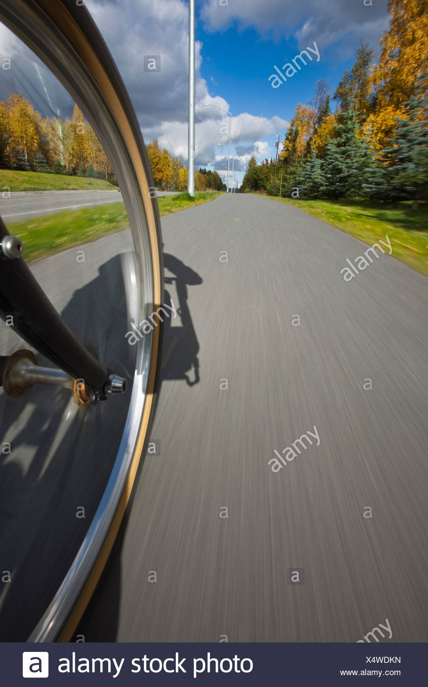 Vue grand angle d'un pneu biycle en mouvement sur une piste cyclable à Anchorage, Southcentral Alaska, automne Photo Stock
