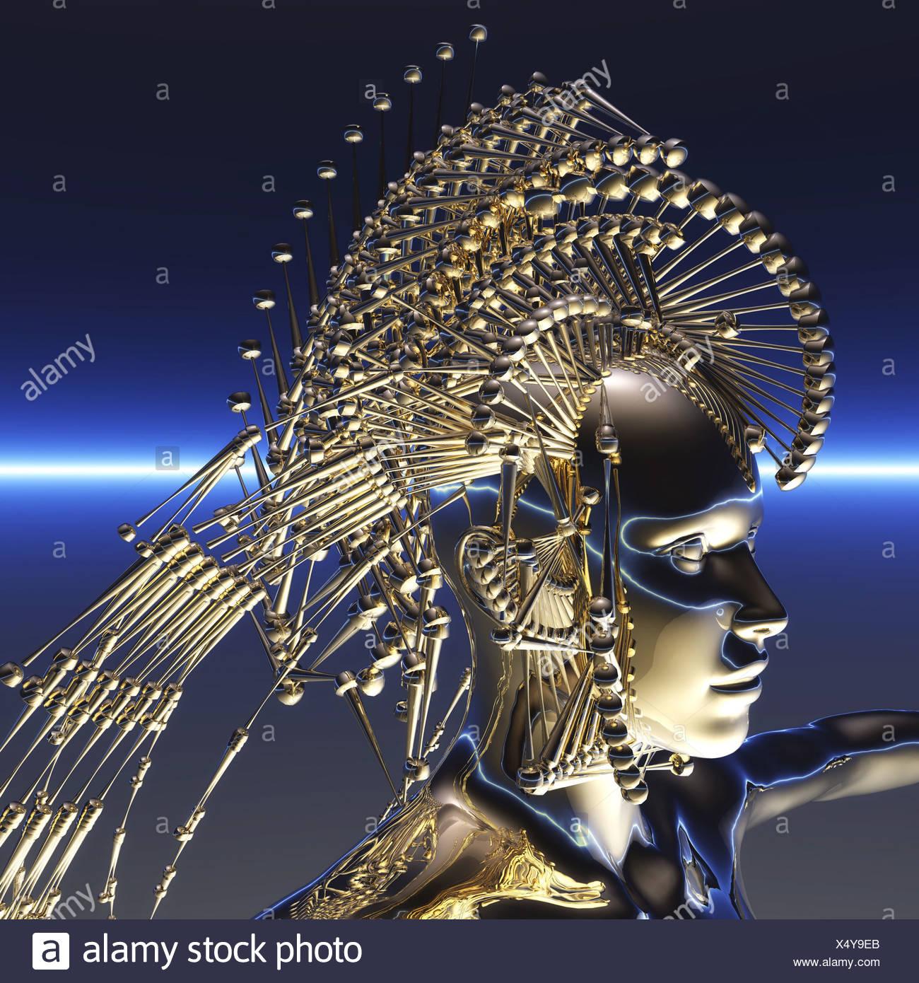 Visualisation numérique d'un cyborg Photo Stock