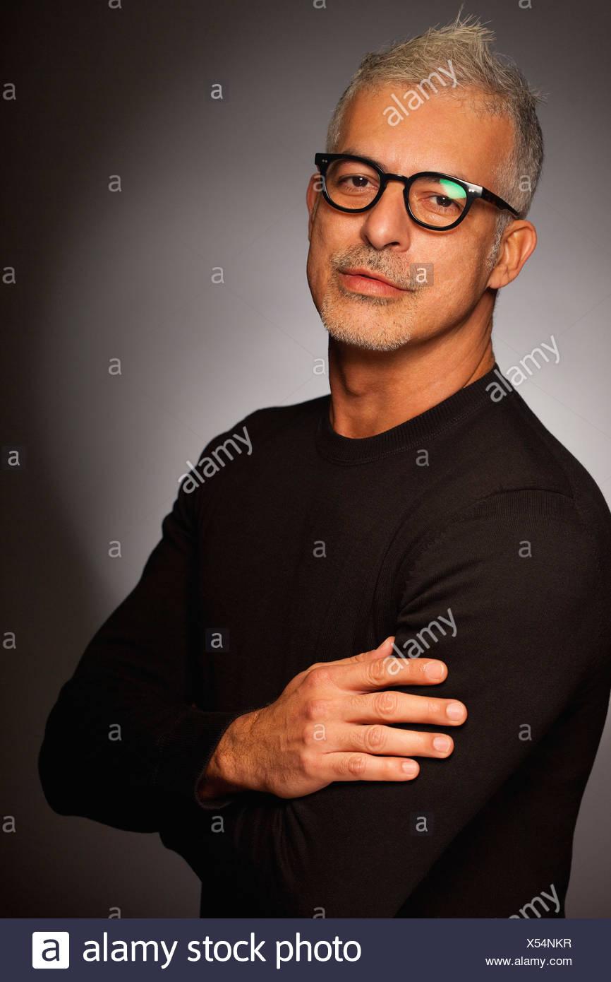 Homme séduisant portrait sophistiqué élégant cool Photo Stock