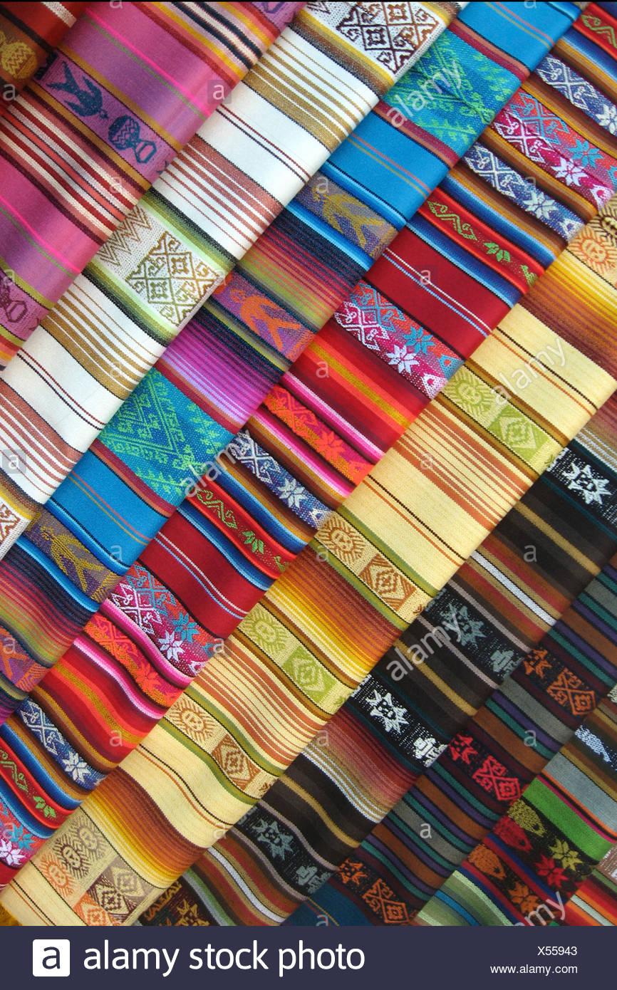 Les rouleaux de tissu dans Ecuadar Photo Stock