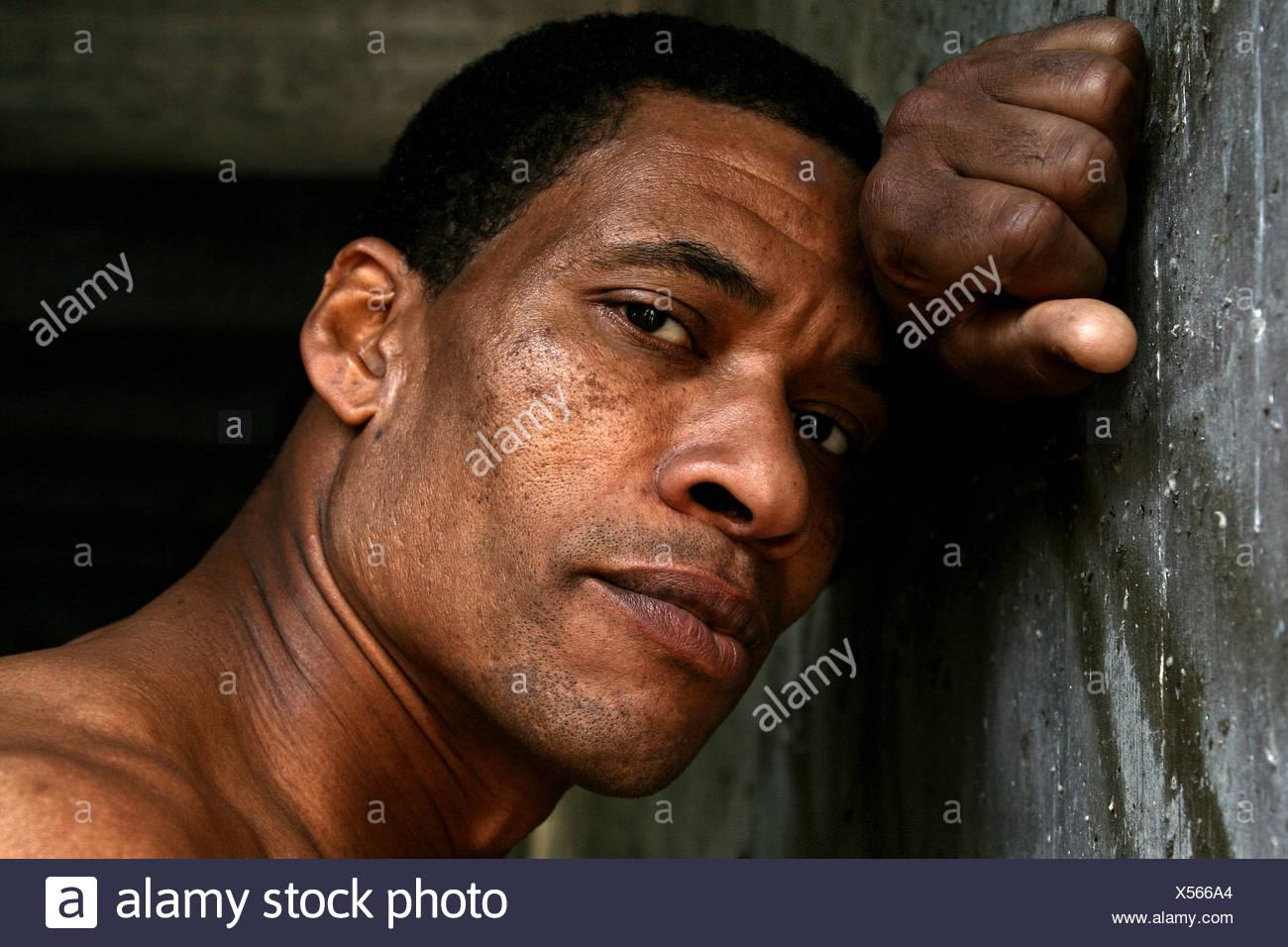 L'homme, épuisé, portrait Photo Stock