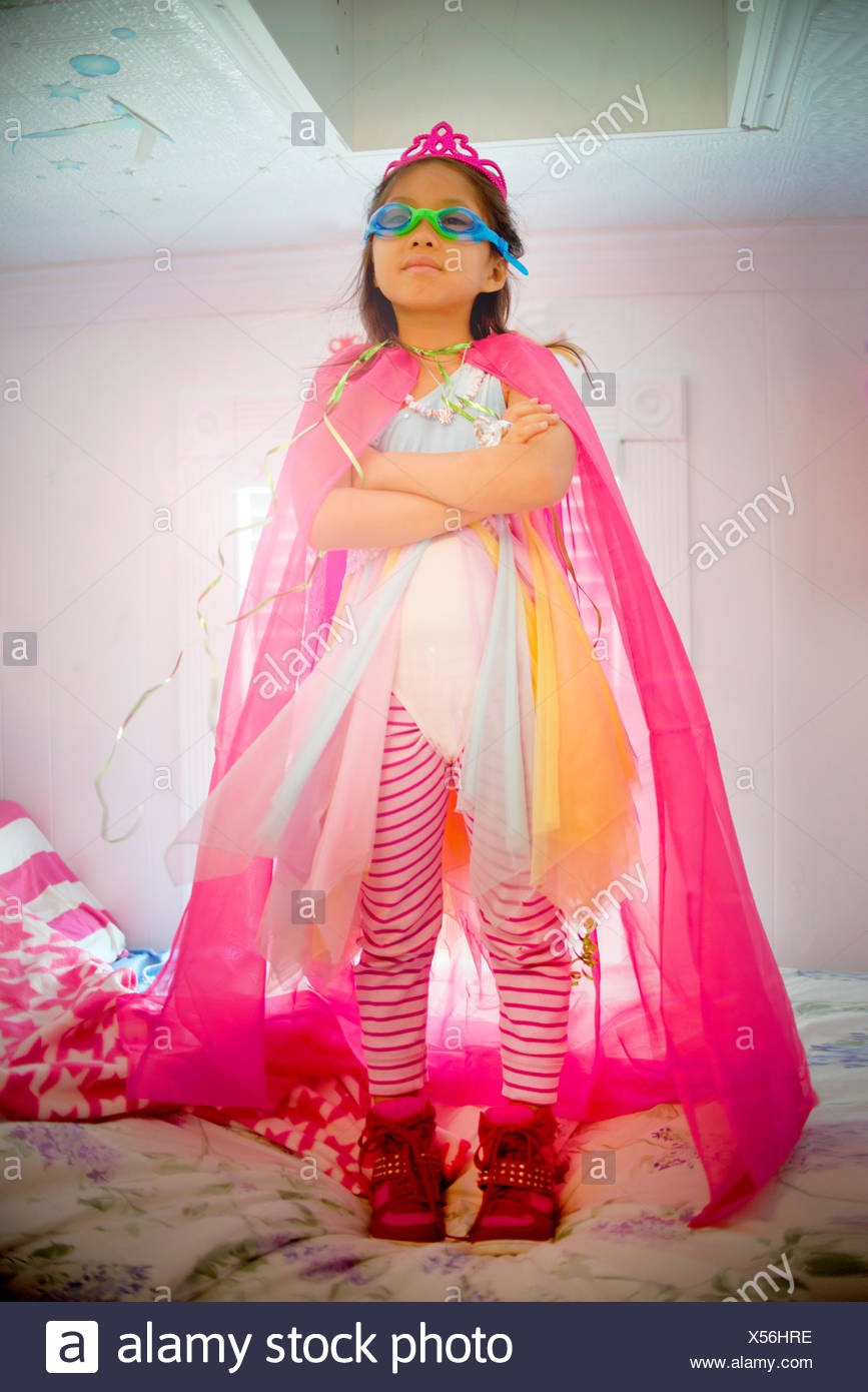 Portrait of young girl wearing fancy dress costume Photo Stock