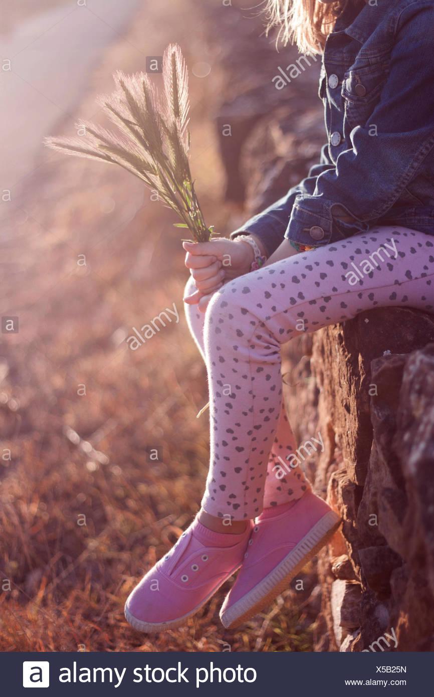 Girl (6-7) sitting on wall Photo Stock