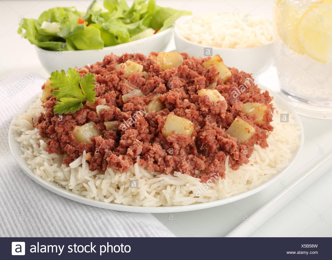 Traditionnel CLASSIQUE LE CORNED BEEF HASH FICHE Banque D'Images