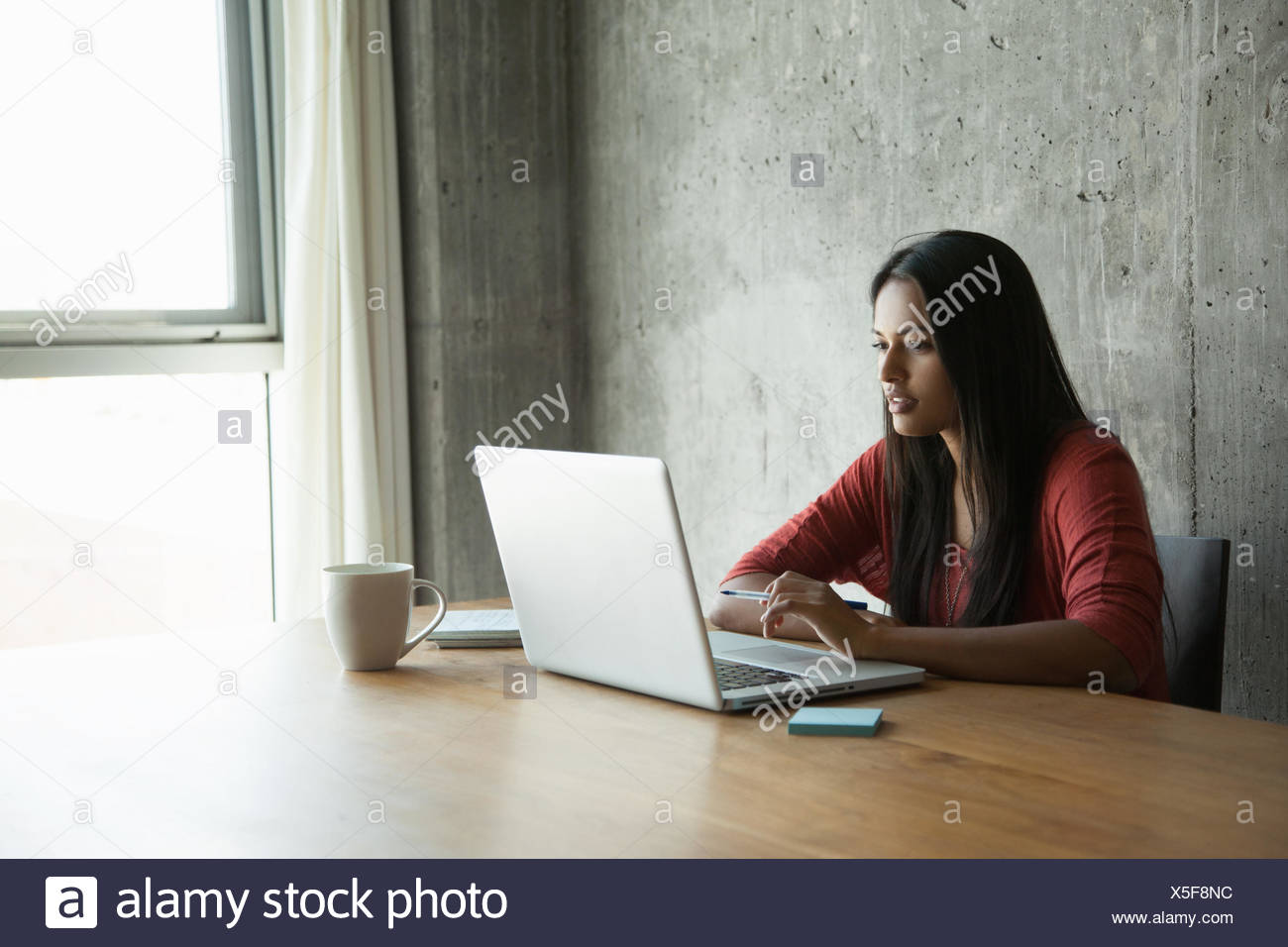 Woman using laptop at home Photo Stock