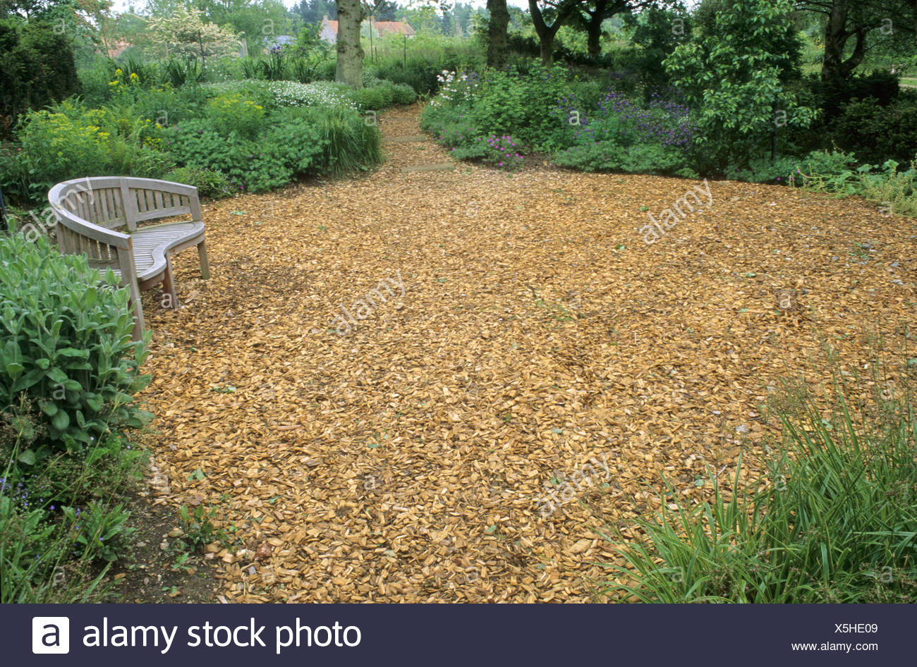 La plantation des bois, copeaux de bois circulaire, écorce ...