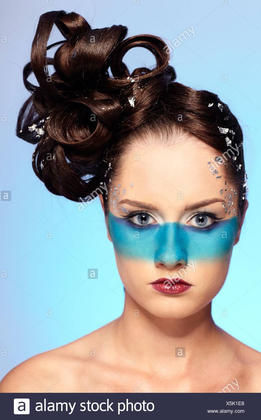 Girl's fantasy blue body-art Photo Stock