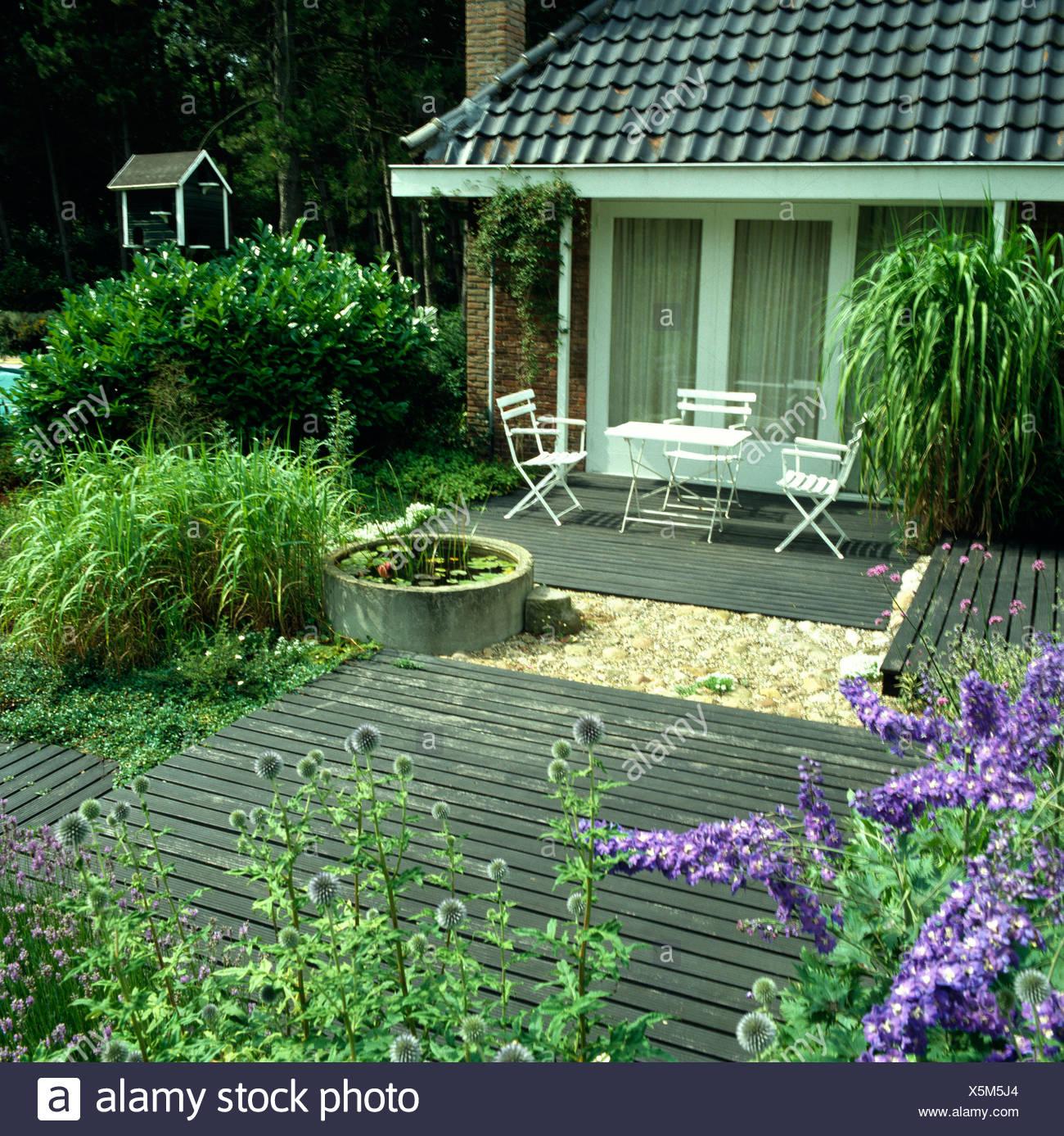 Delphiniums bleus et nepeta dans jardin avec table et ...