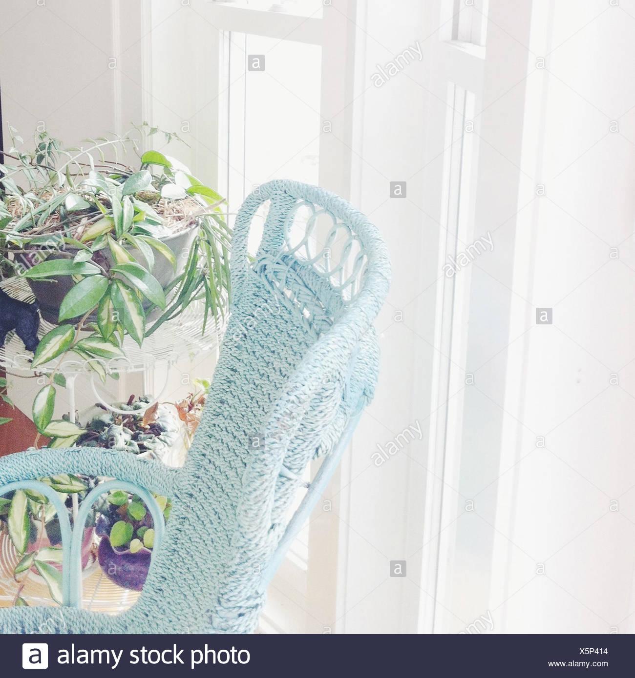 Chambre lumineuse avec une chaise et des plantes Photo Stock